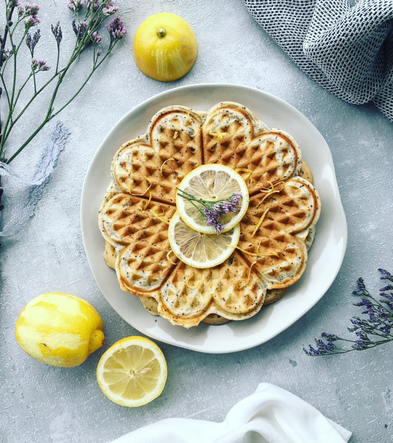 Zitronen Mohn Waffeln