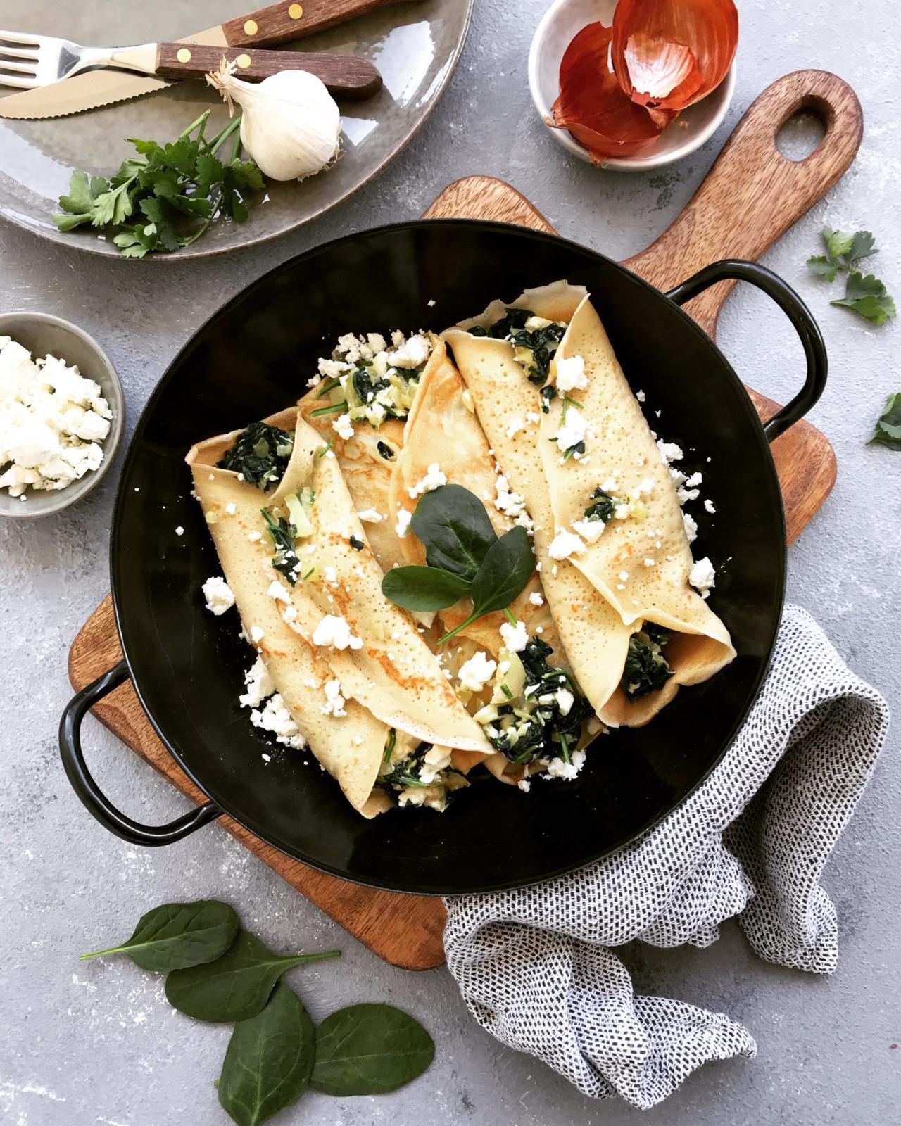 Spinat Palatschinken mit Feta Käse