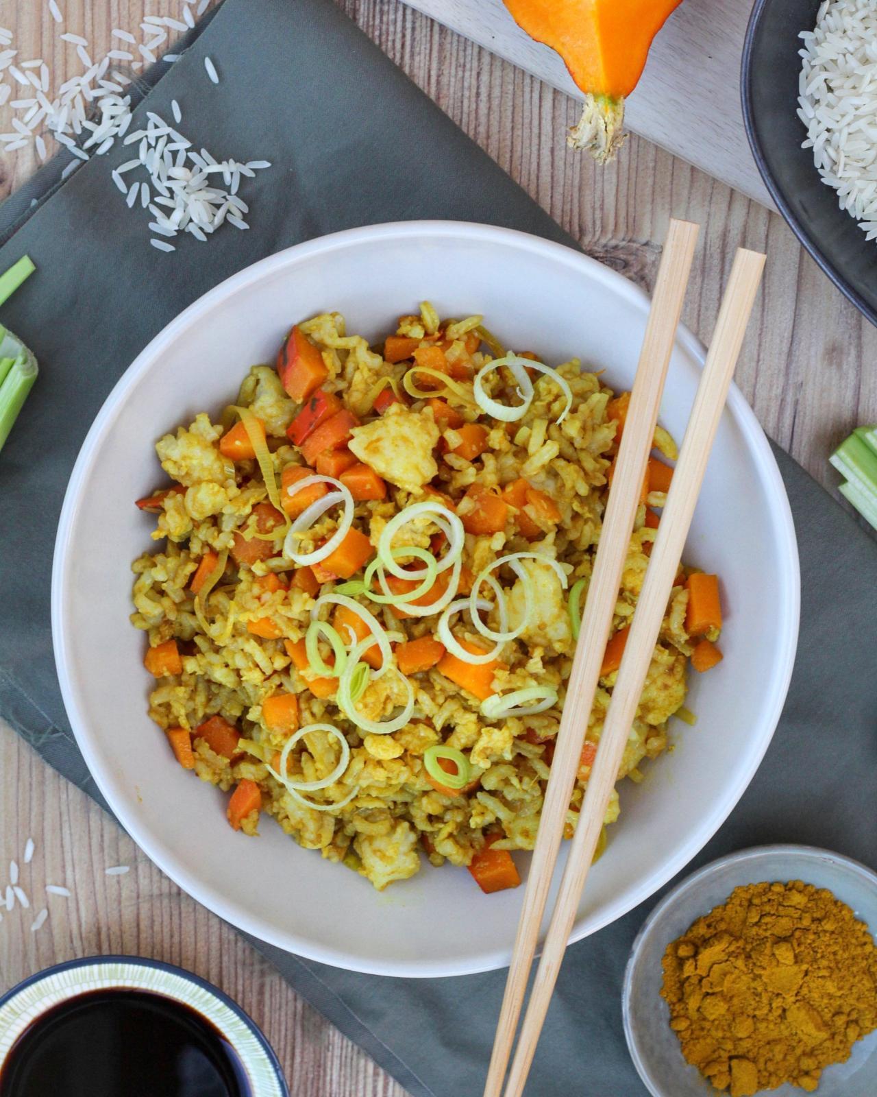 Gebratener Kürbis Reis mit Curry