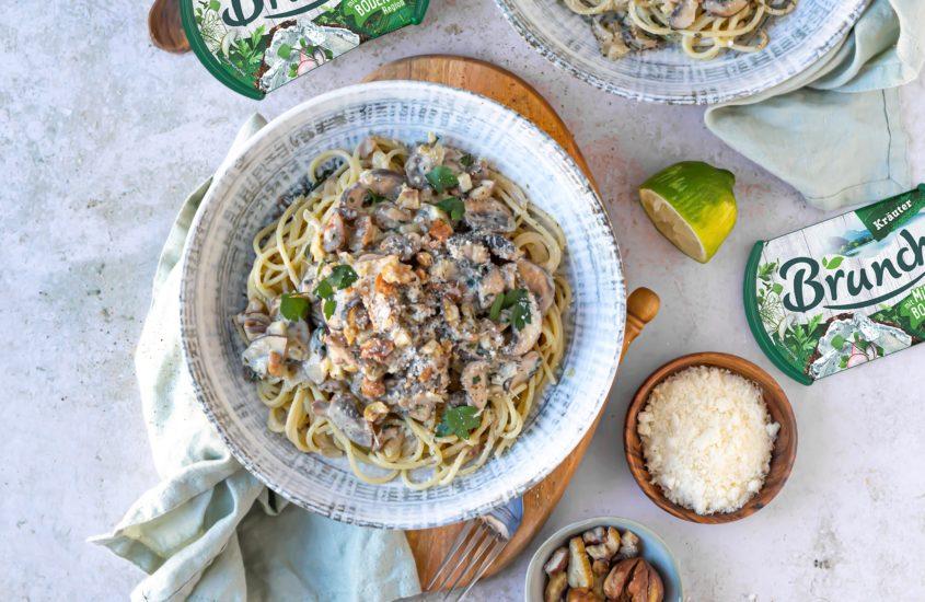 Maroni Spaghetti mit braunen Champignons und Brunch Kräuter